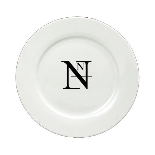 Buy this Letter N Initial Monogram Modern Round Ceramic White Salad Plate CJ1056-N-DPW
