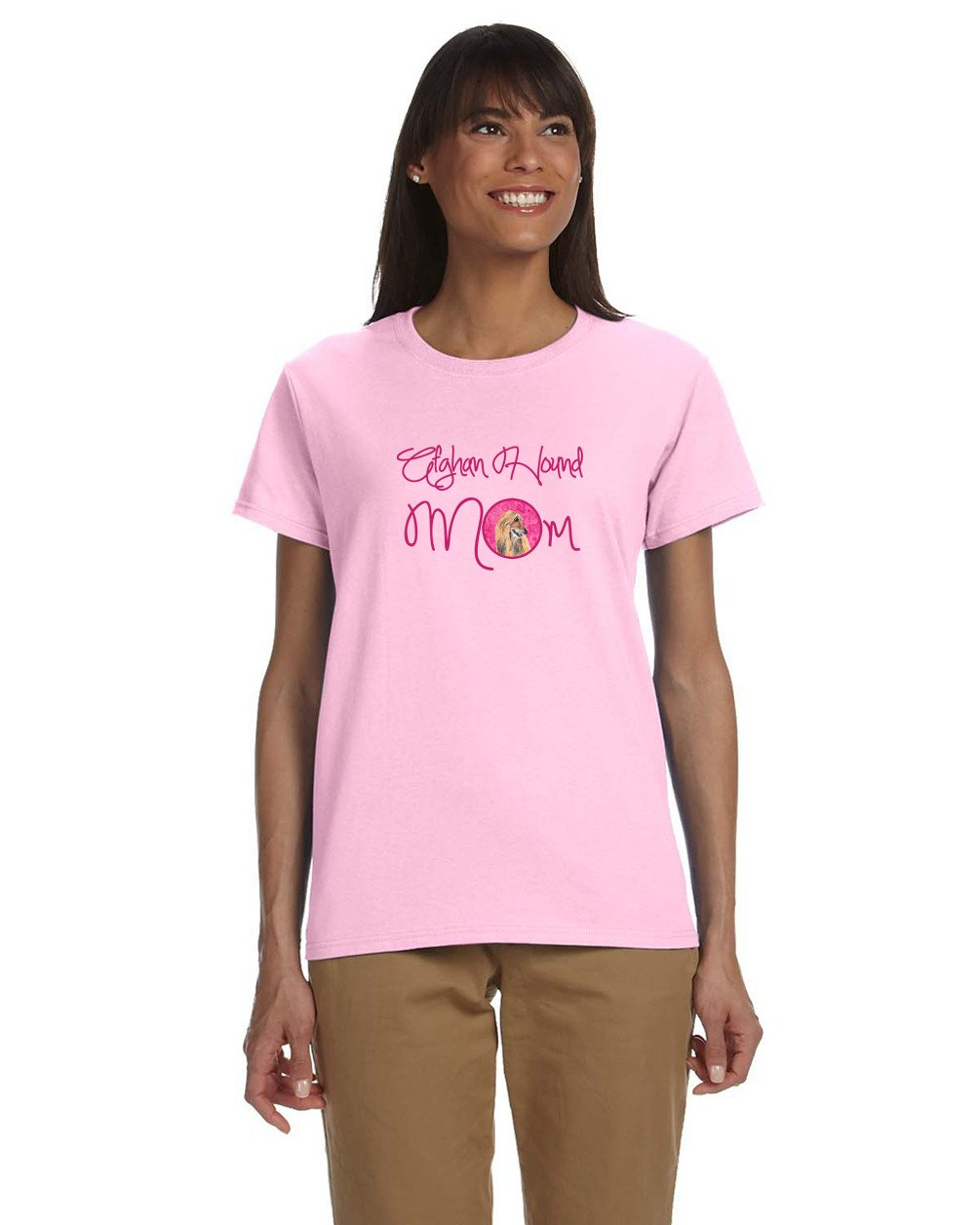 Pink Afghan Hound Mom T-shirt Ladies Cut Short Sleeve Medium SC9509PK-978-M by Caroline's Treasures