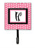Letter H Initial Monogram - Pink Black Polka Dots Leash Holder or Key Hook by Caroline's Treasures