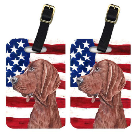Buy this Pair of Redbone Coonhound with American Flag USA Luggage Tags SC9635BT