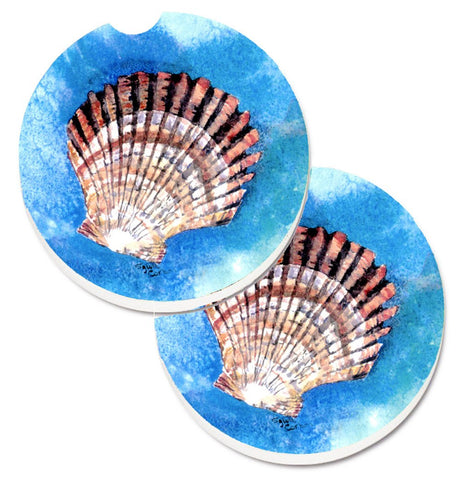 Buy this Scallop Sea Shell Set of 2 Cup Holder Car Coasters 8008CARC