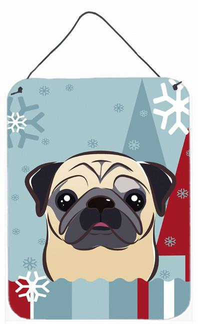 Buy this Winter Holiday Fawn Pug Wall or Door Hanging Prints BB1758DS1216