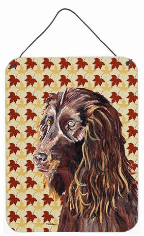 Buy this Boykin Spaniel Fall Leaves Aluminium Metal Wall or Door Hanging Prints