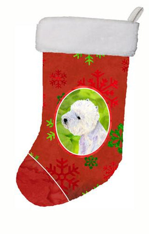 Buy this Westie Red and Green Snowflakes Holiday Christmas Christmas Stocking LH9315