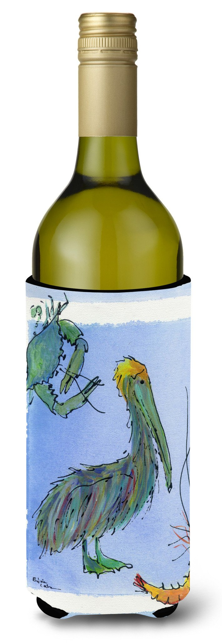 Pelican Shrimp and Crab Wine Bottle Beverage Insulator Beverage Insulator Hugger by Caroline's Treasures