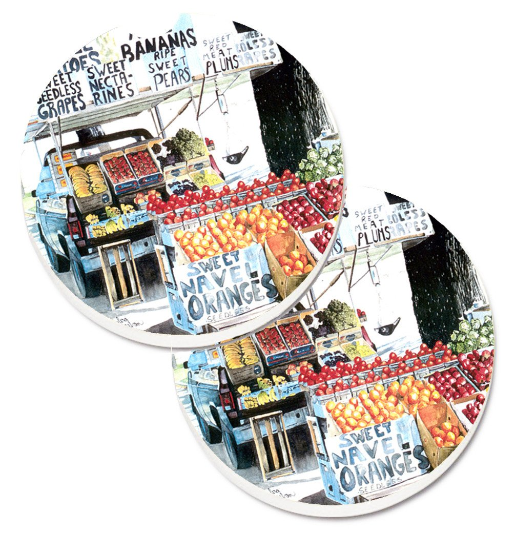 Fruit Stand Set of 2 Cup Holder Car Coasters 8054CARC by Caroline's Treasures