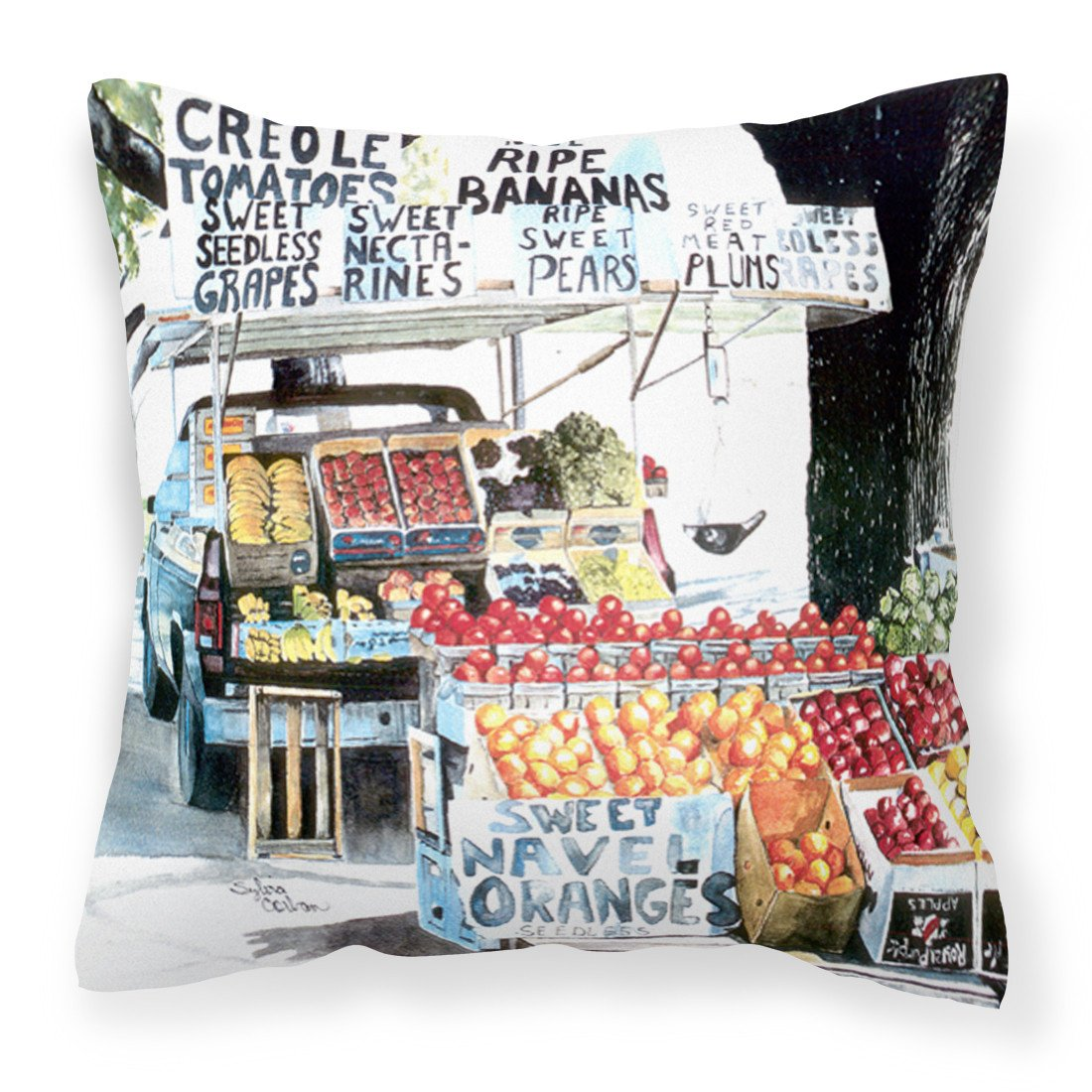 Buy this Fruit Stand Fabric Decorative Pillow 8054PW1414