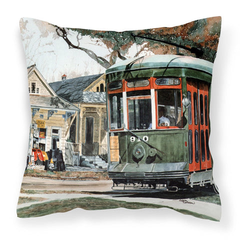 New Orleans Streetcar Decorative   Canvas Fabric Pillow