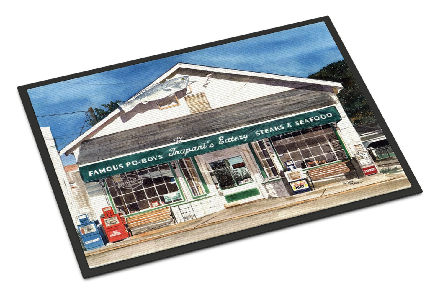 Trapani's Eatery Indoor or Outdoor Mat 18x27 Doormat by Caroline's Treasures