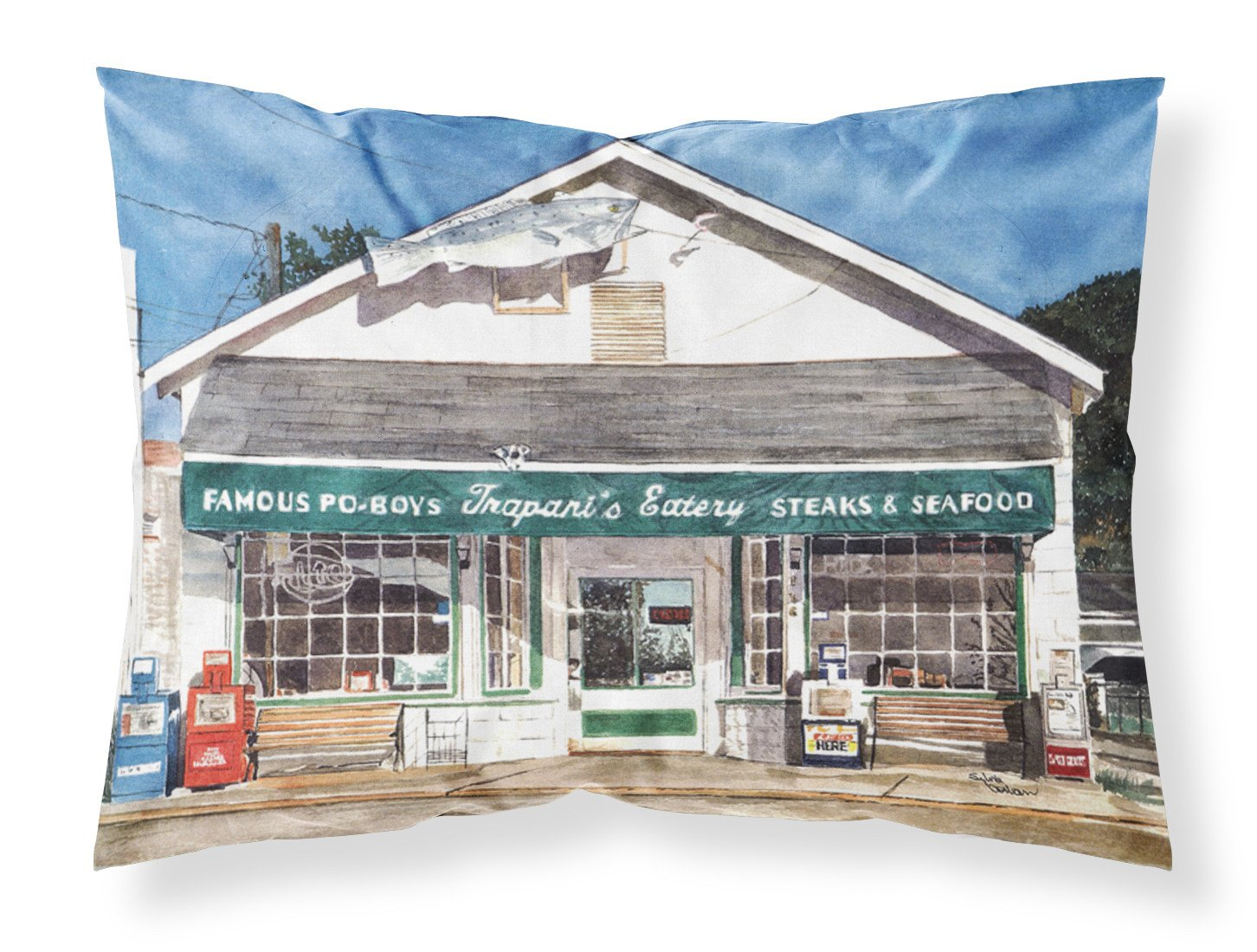 Trapani's Eatery Moisture wicking Fabric standard pillowcase by Caroline's Treasures