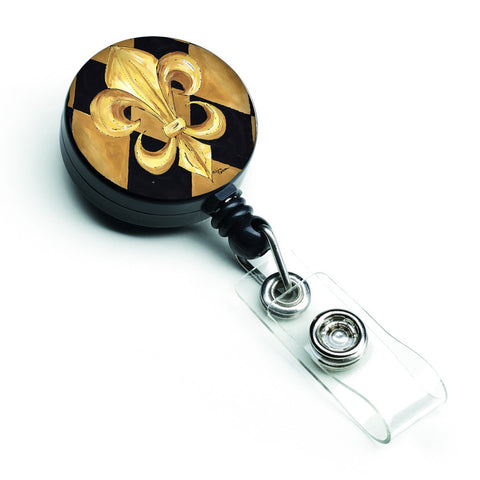 Buy this Black and Gold Fleur de lis New Orleans Retractable Badge Reel 8125BR