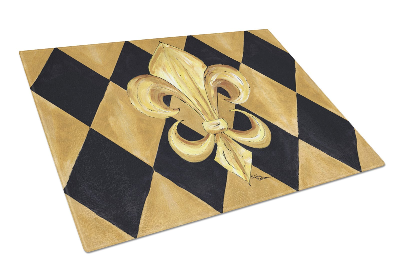 Black and Gold Fleur de lis New Orleans Glass Cutting Board Large by Caroline's Treasures