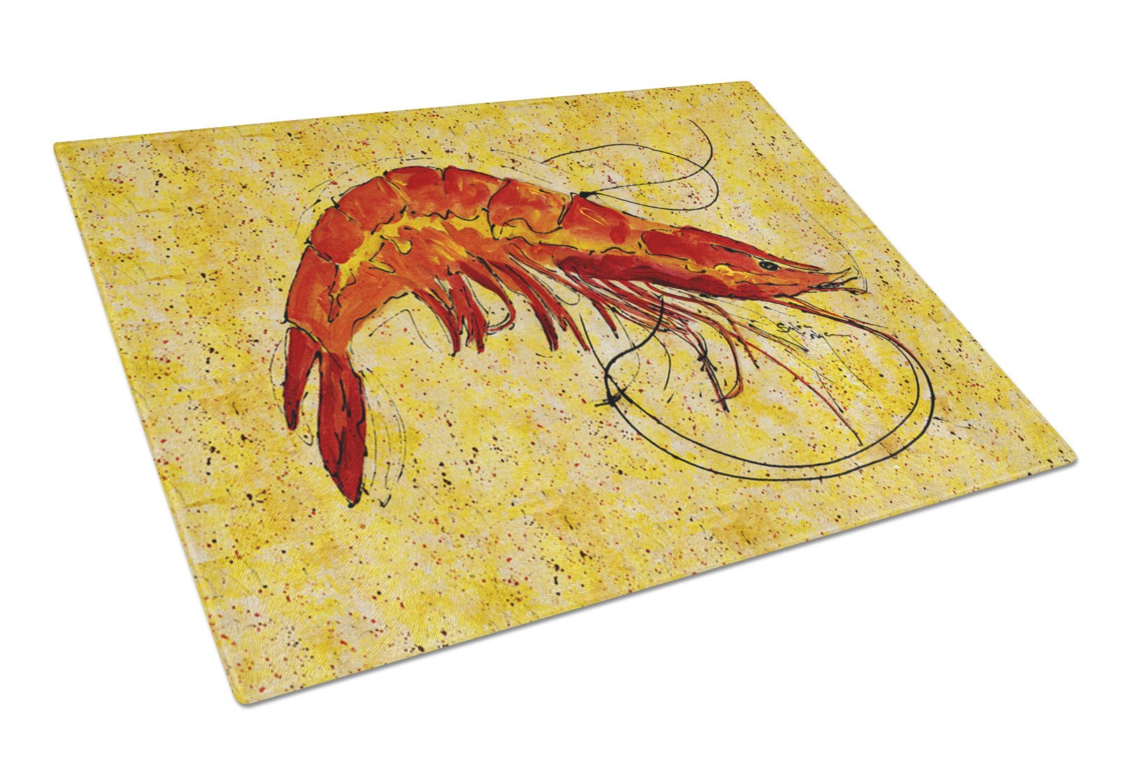 Cooked Shrimp on Yellow speckle Glass Cutting Board by Caroline's Treasures