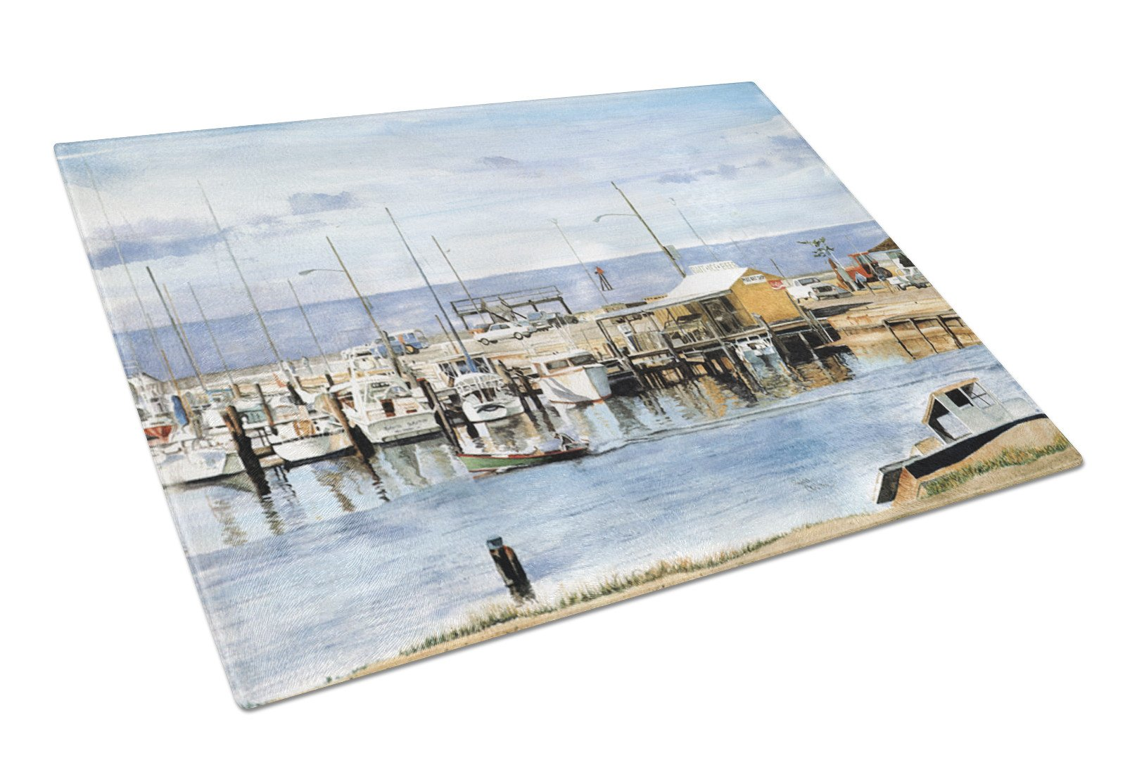 The Pass Bait Shop Glass Cutting Board Large by Caroline's Treasures