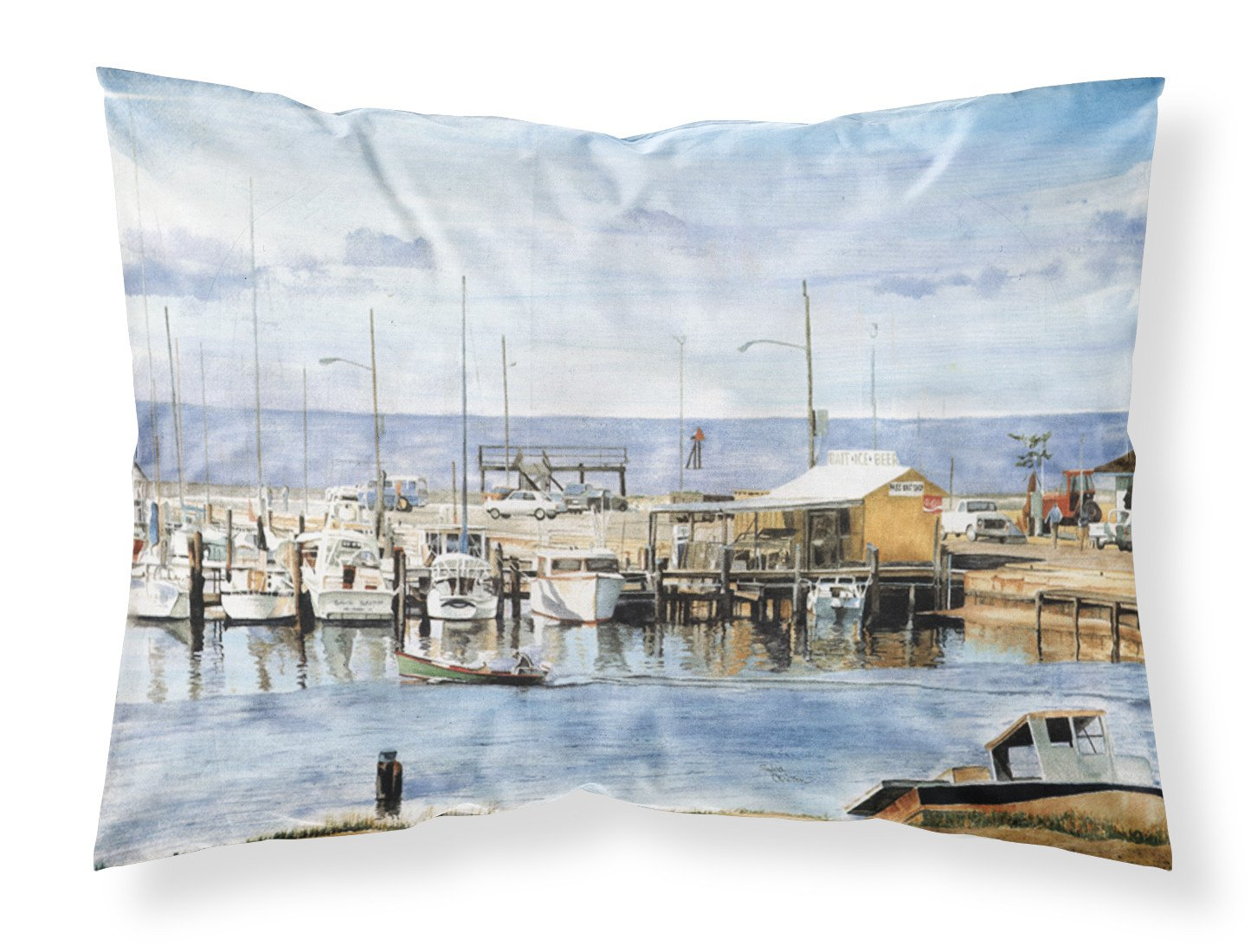 The Pass Bait Shop Moisture wicking Fabric standard pillowcase by Caroline's Treasures