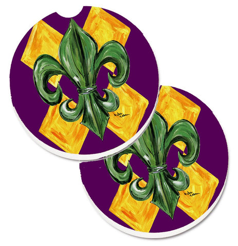 Buy this Mardi Gras Fleur de lis Purple Green and Gold Set of 2 Cup Holder Car Coasters 8133CARC