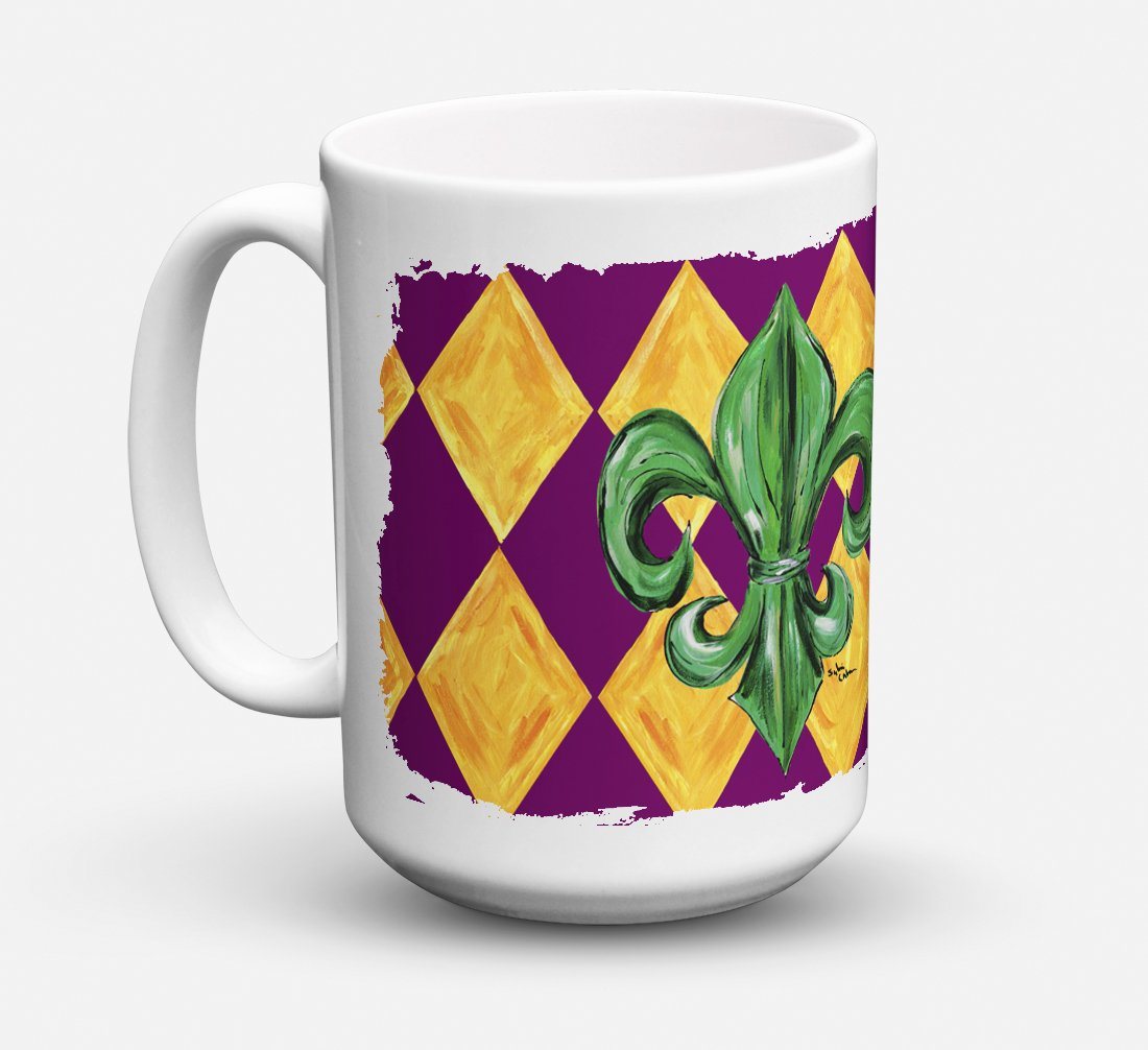 Mardi Gras Fleur de lis Purple Green and Gold Dishwasher Safe Microwavable Ceramic Coffee Mug 15 ounce 8133CM15 by Caroline's Treasures