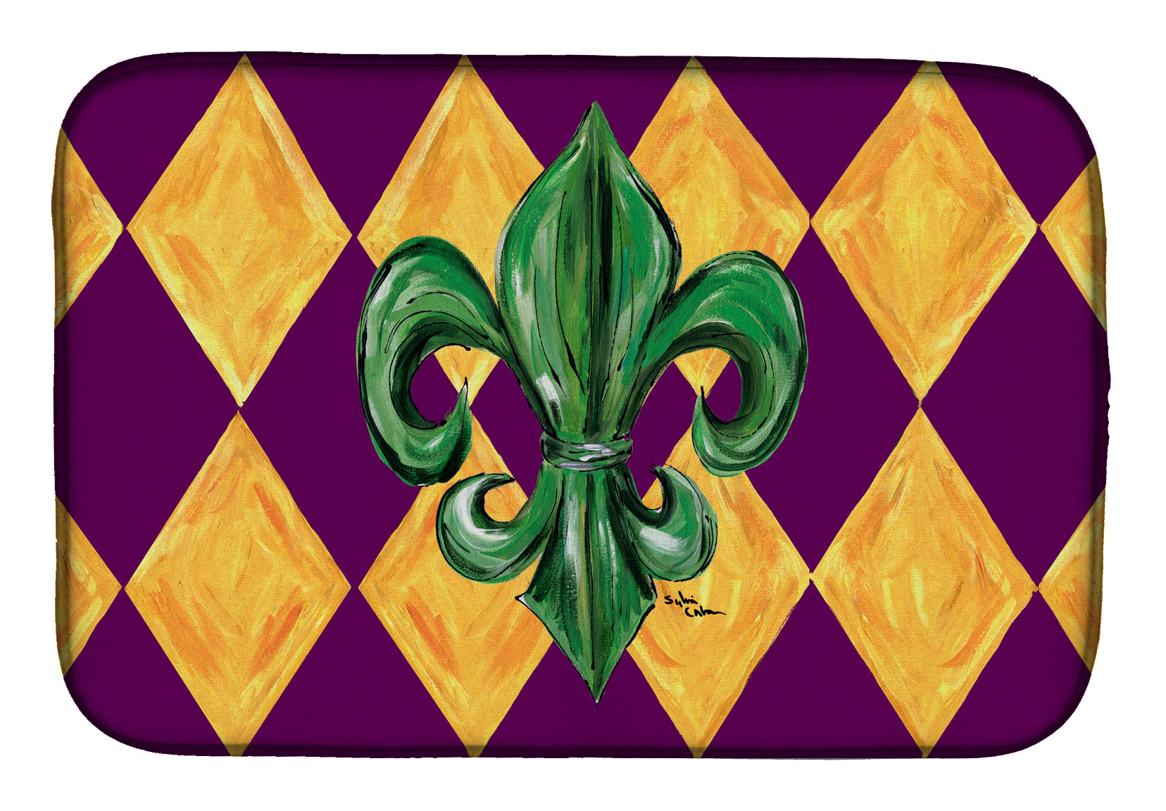 Mardi Gras Fleur de lis Purple Green and Gold Dish Drying Mat 8133DDM by Caroline's Treasures
