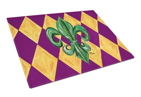 Buy this Mardi Gras Fleur de lis Purple Green and Gold Glass Cutting Board Large