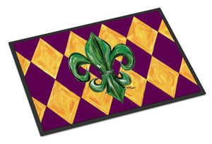 Buy this Mardi Gras Fleur de lis Purple Green and Gold Indoor or Outdoor Mat 18x27