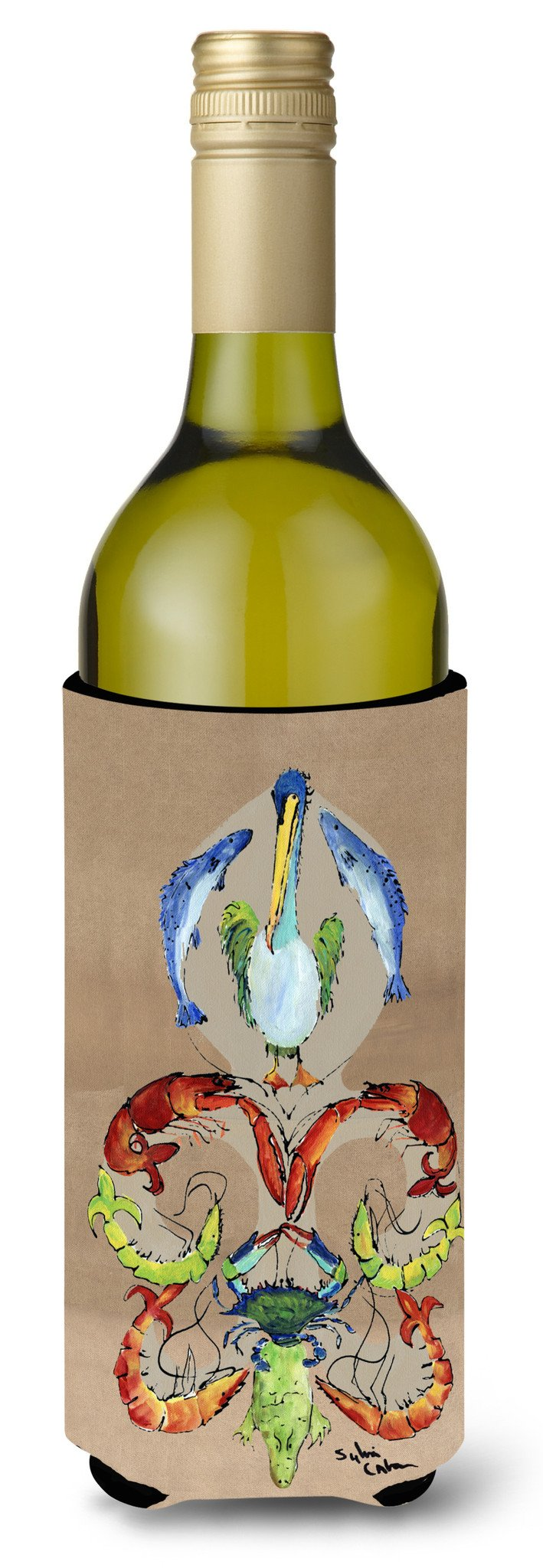 Crab Shrimp Pelican Crab and Gator Fleur de lis Wine Bottle Beverage Insulator Beverage Insulator Hugger by Caroline's Treasures