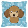 Snowflake Chocolate Brown Poodle Fabric Decorative Pillow BB1690PW1414 - the-store.com