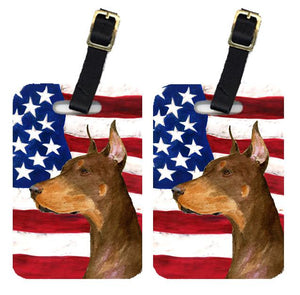 Buy this Pair of USA American Flag with Doberman Luggage Tags SS4224BT