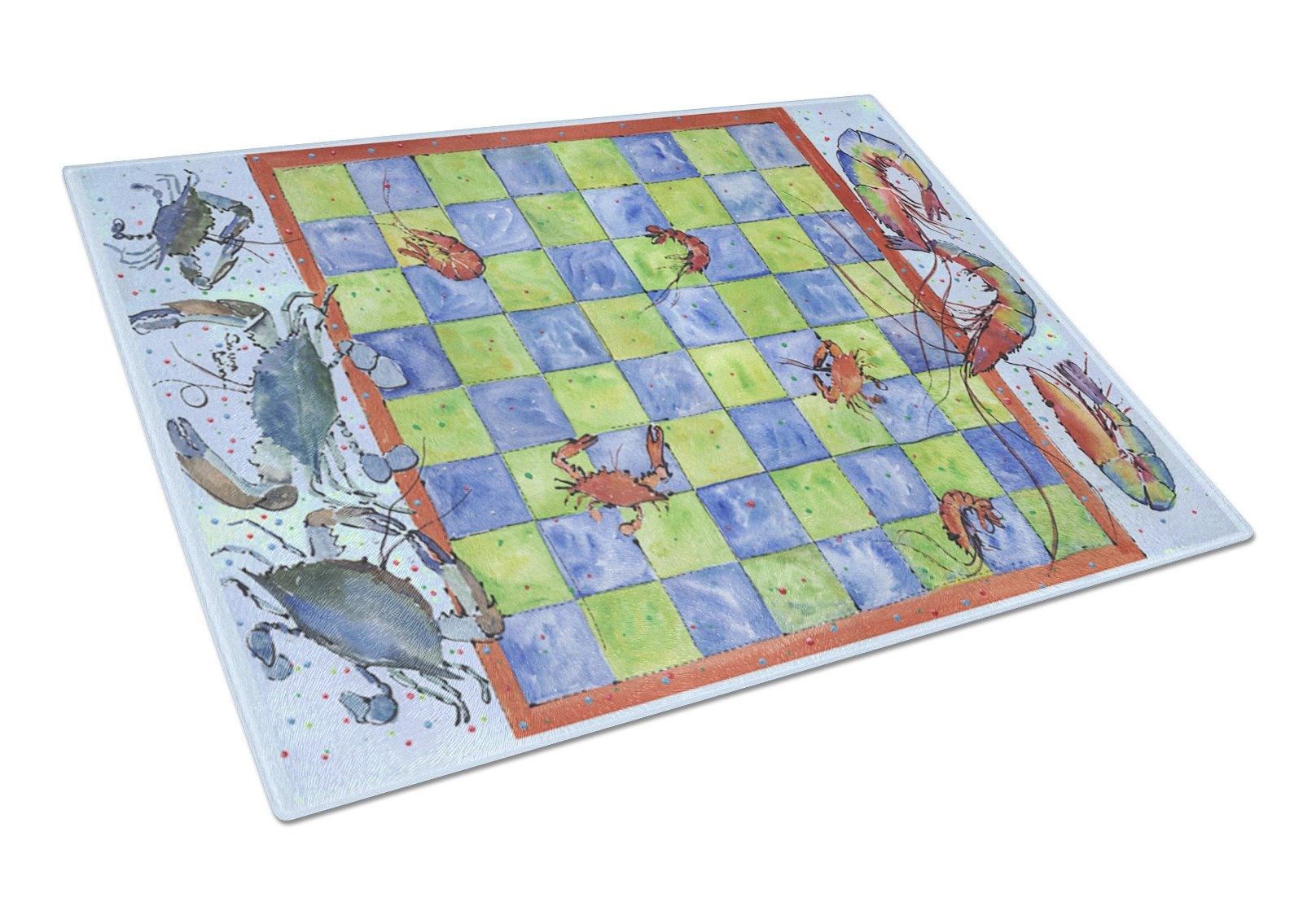 Crab and Shrimp Checkerboard Glass Cutting Board Large by Caroline's Treasures