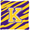 Monogram - Tiger Stripe - Purple Gold Decorative Canvas Fabric Pillow Initial K - the-store.com