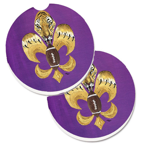 Buy this Tiger Football Fleur de lis  Set of 2 Cup Holder Car Coasters 8205-2CARC