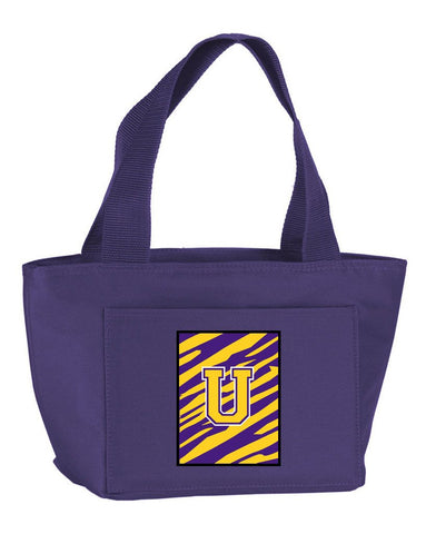 Buy this Letter U Monogram - Tiger Stripe - Purple Gold Lunch Bag or Doggie Bag CJ1022-U-PR-8808