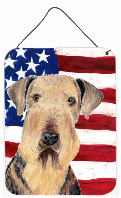 USA American Flag with Airedale Aluminium Metal Wall or Door Hanging Prints by Caroline's Treasures