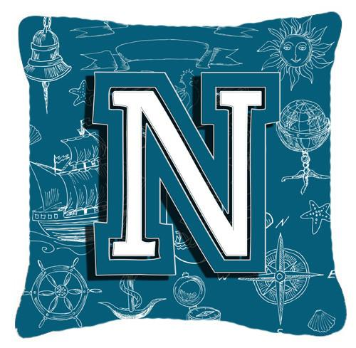 Letter N Sea Doodles Initial Alphabet Canvas Fabric Decorative Pillow CJ2014-NPW1414 by Caroline's Treasures