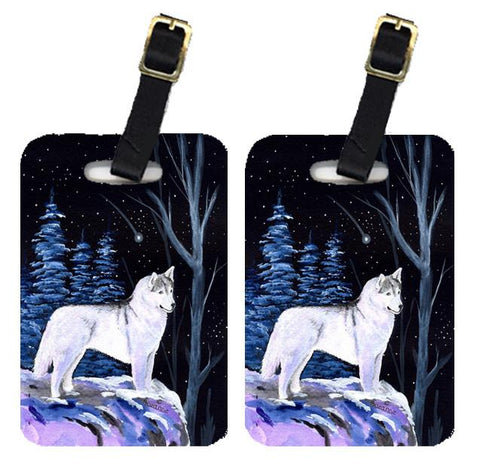 Buy this Starry Night Siberian Husky Luggage Tags Pair of 2