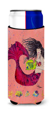 Black haired Mermaid on Red Ultra Beverage Insulators for slim cans 8338MUK by Caroline's Treasures