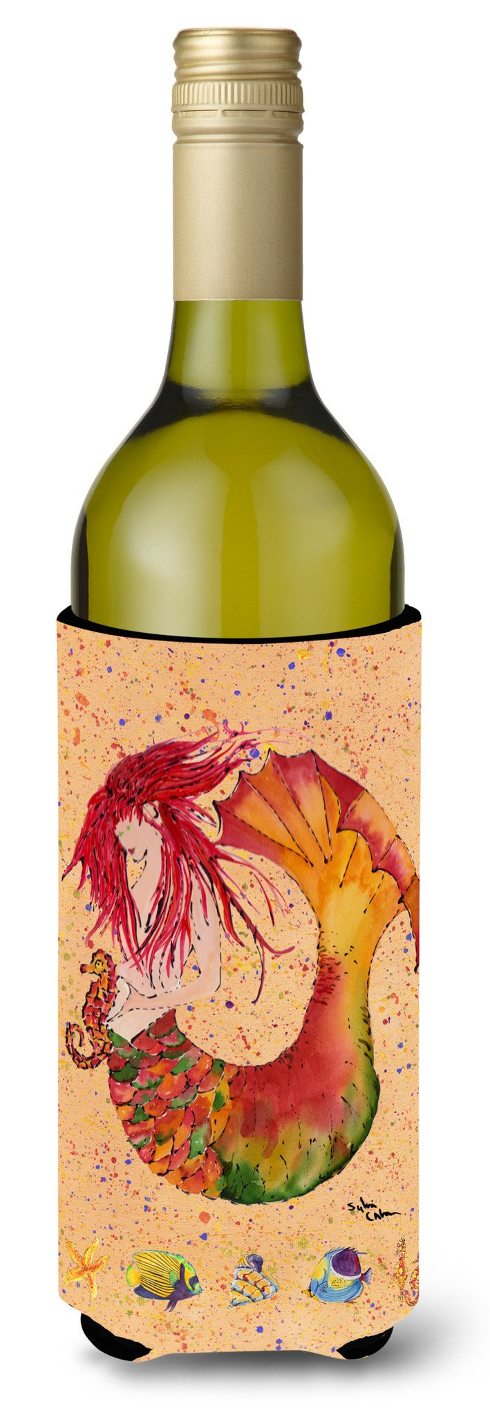 Buy this Red Headed Ginger Mermaid on Coral Wine Bottle Beverage Insulator Beverage Insulator Hugger