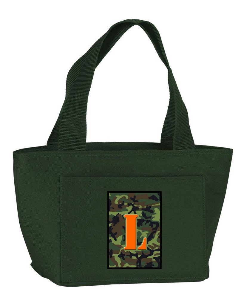 Buy this Letter L Monogram - Camo Green Zippered Insulated School Washable and Stylish Lunch Bag Cooler CJ1030-L-GN-8808