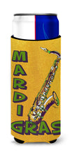 Mardi Gras and Saxaphone Ultra Beverage Insulators for slim cans 8366MUK by Caroline's Treasures