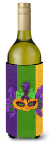 Mardi Gras with Feathers Wine Bottle Beverage Insulator Beverage Insulator Hugger by Caroline's Treasures