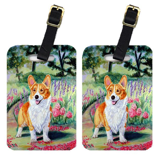 Buy this Pair of 2 Corgi Springtime in the Garden Luggage Tags