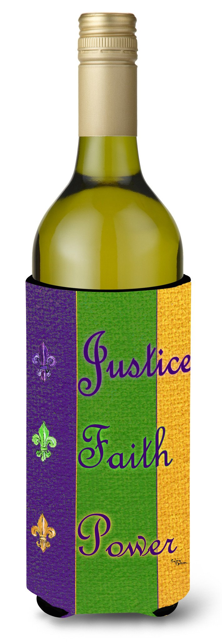 Mardi Gras Peace Faith and Justice Wine Bottle Beverage Insulator Beverage Insulator Hugger by Caroline's Treasures
