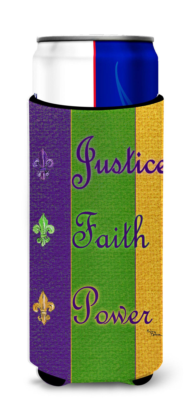 Buy this Mardi Gras Peace Faith and Justice Ultra Beverage Insulators for slim cans 8374MUK