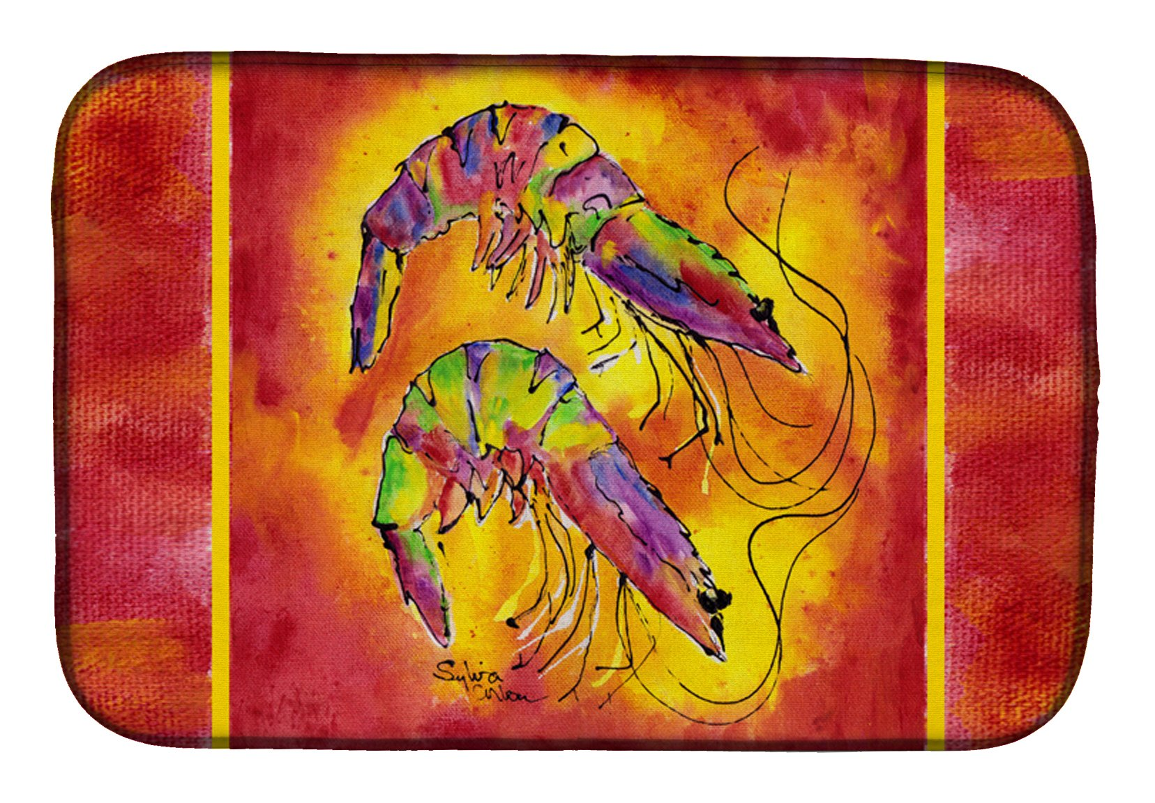 Bright Shrimp on Red Dish Drying Mat 8378DDM by Caroline's Treasures