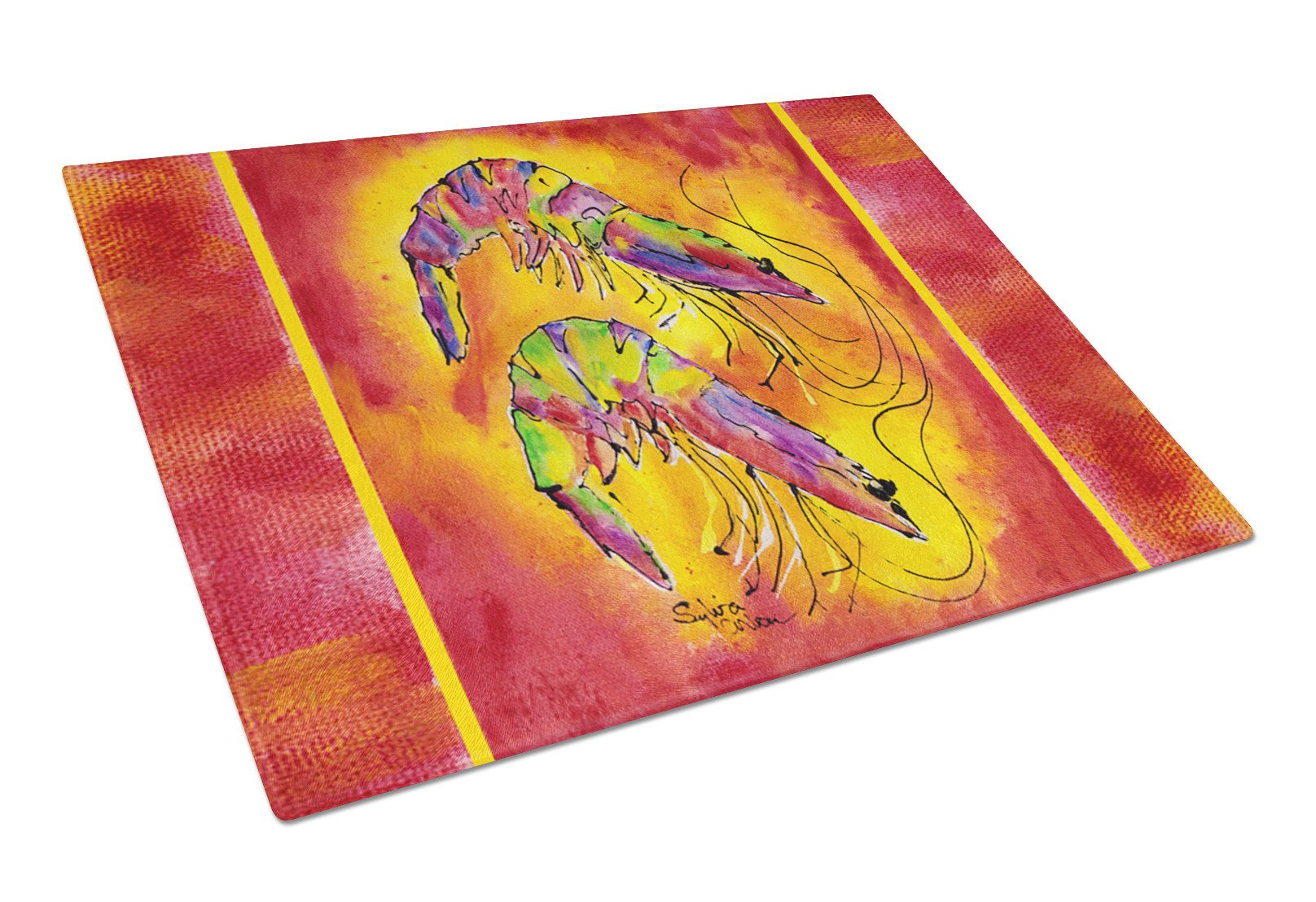 Bright Shrimp on Red Glass Cutting Board Large by Caroline's Treasures