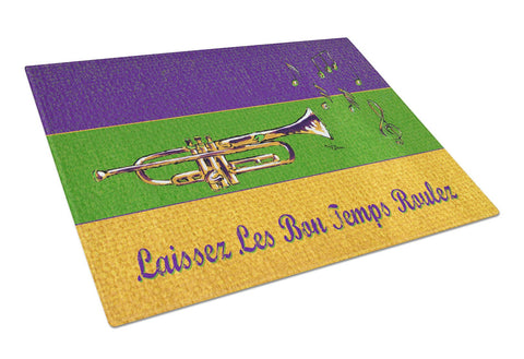 Buy this Mardi Gras and Trumpet Glass Cutting Board