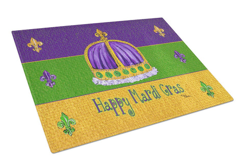 Buy this Happy Mardi Gras with Crown Glass Cutting Board