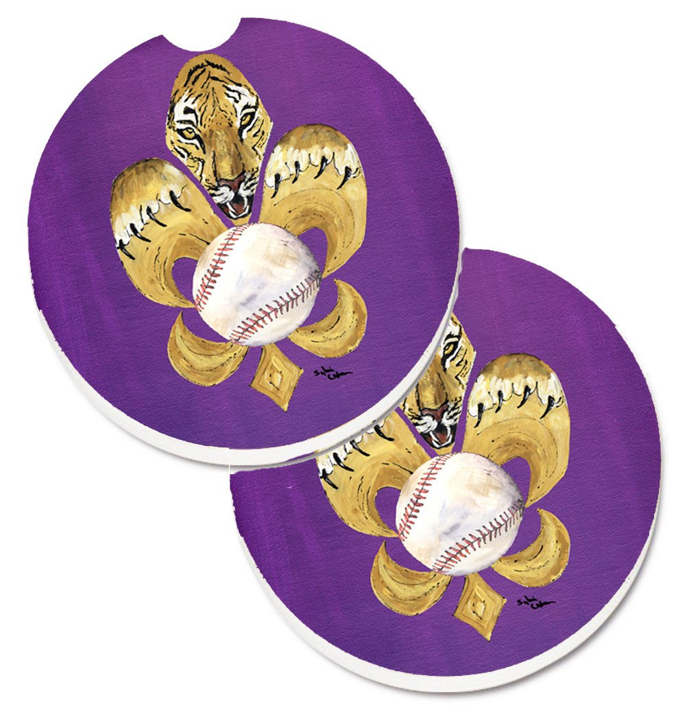 Buy this Tiger Fleur de lis Baseball Set of 2 Cup Holder Car Coasters 8476CARC