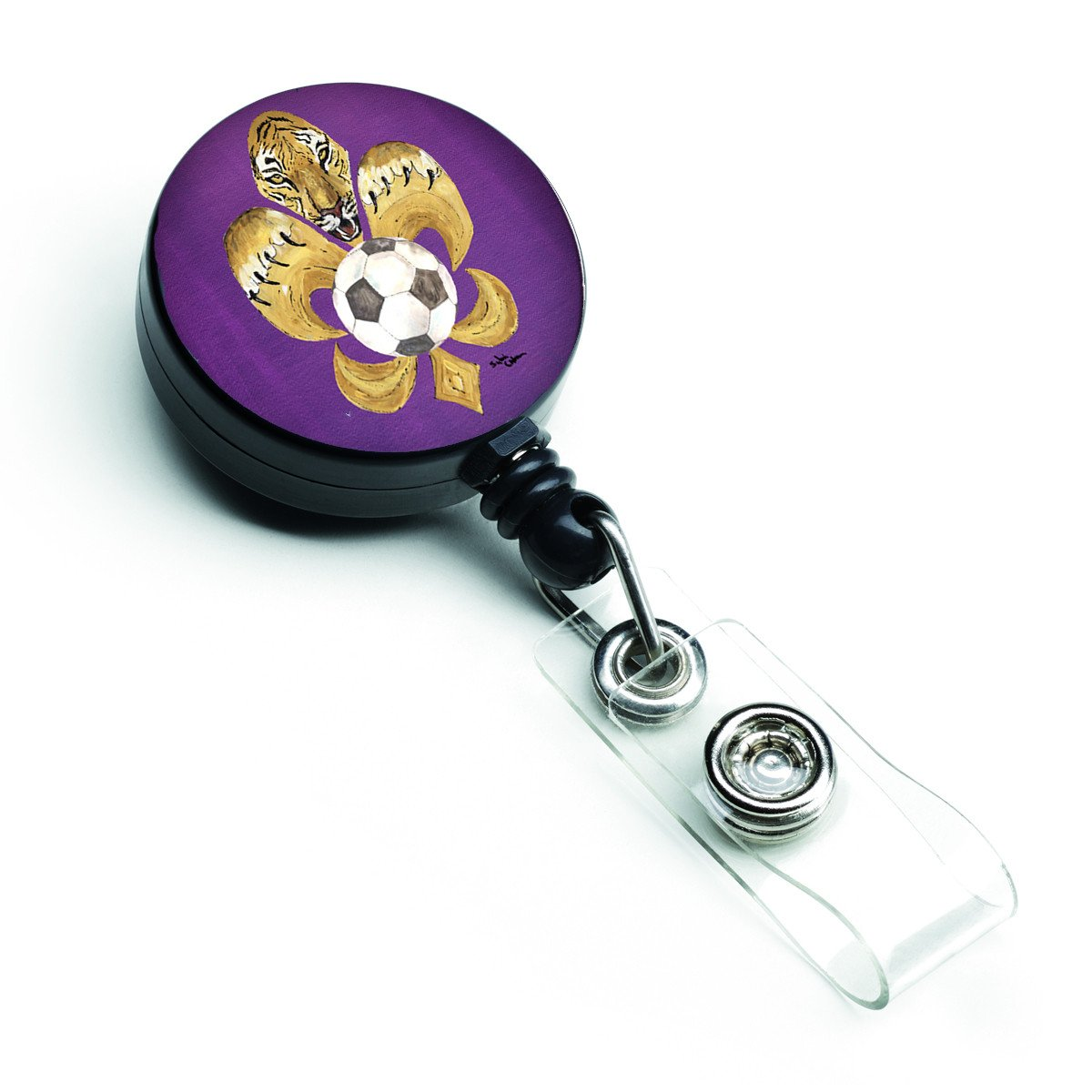Tiger Fleur de lis Soccer Retractable Badge Reel 8477BR by Caroline's Treasures