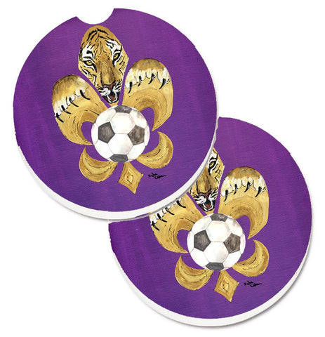 Buy this Tiger Fleur de lis Soccer Set of 2 Cup Holder Car Coasters 8477CARC