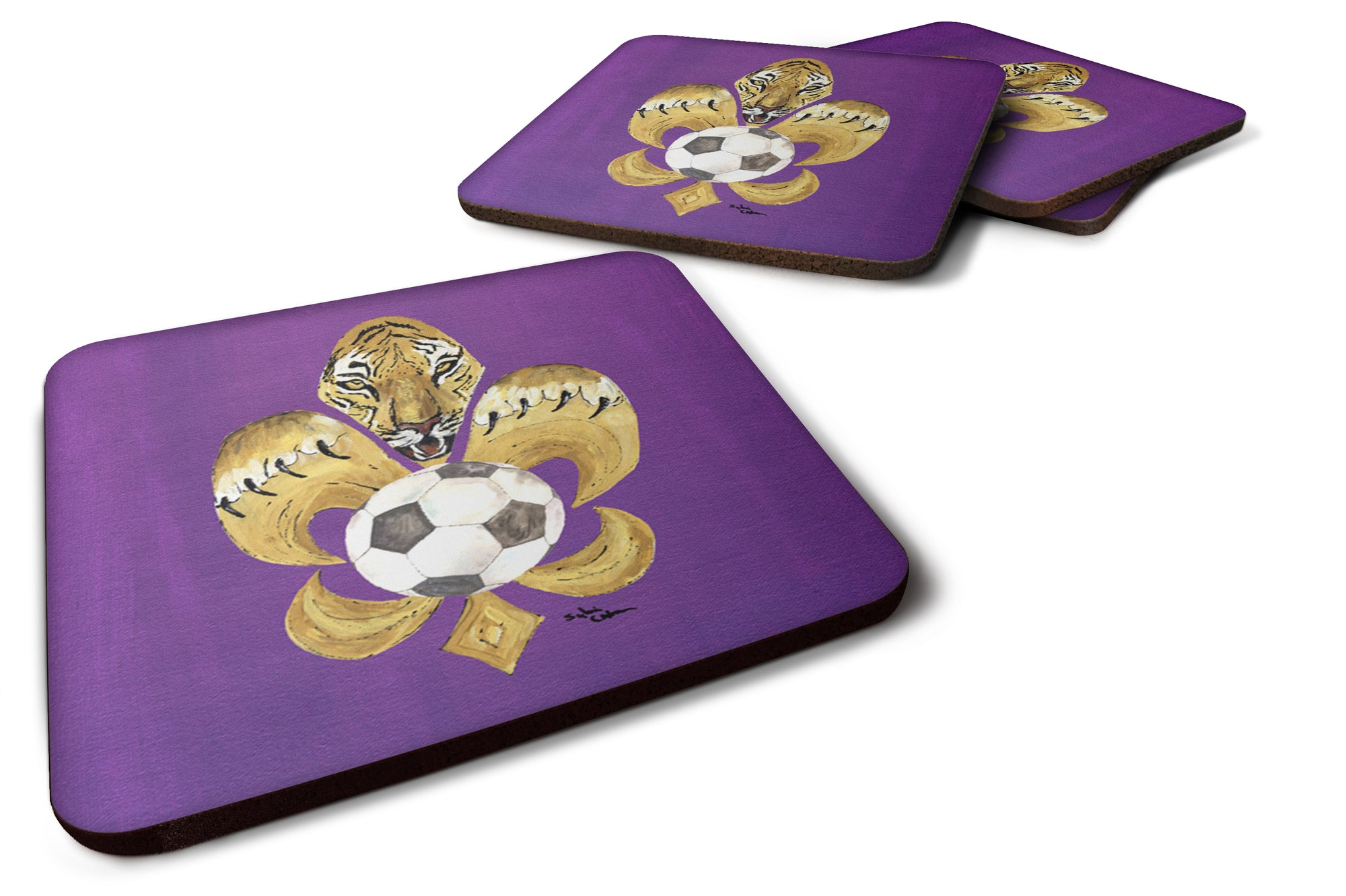 Set of 4 Tiger Soccer  Fleur de lis Foam Coasters by Caroline's Treasures